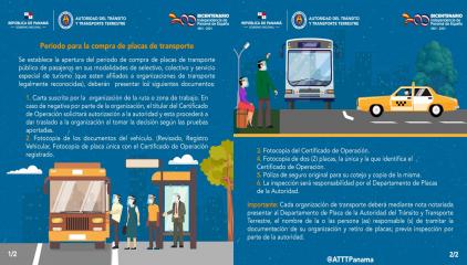 La Autoridad de Tránsito y Transporte Terrestre realiza apertura en el periodo de compra de placas del transporte público.